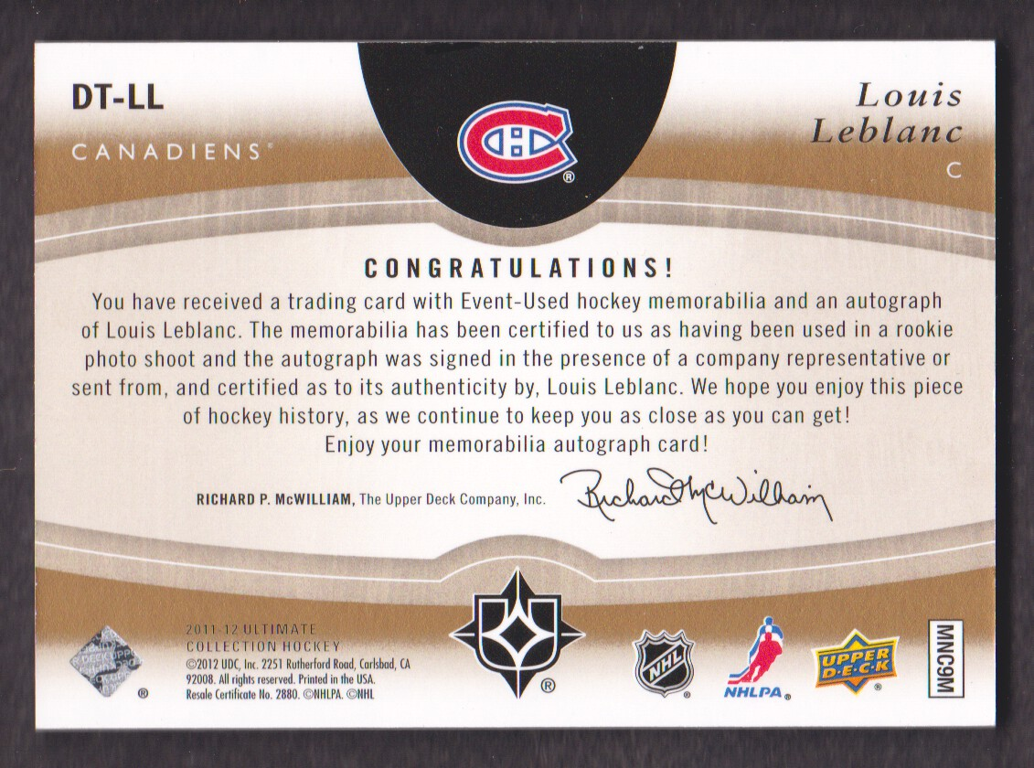 2011-12 Ultimate Collection Debut Threads Autographs #DTLL Louis Leblanc back image