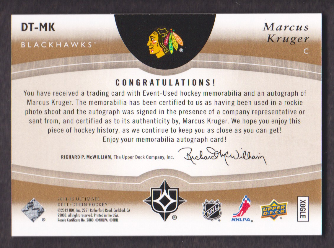 2011-12 Ultimate Collection Debut Threads Autographs #DTMK Marcus Kruger back image