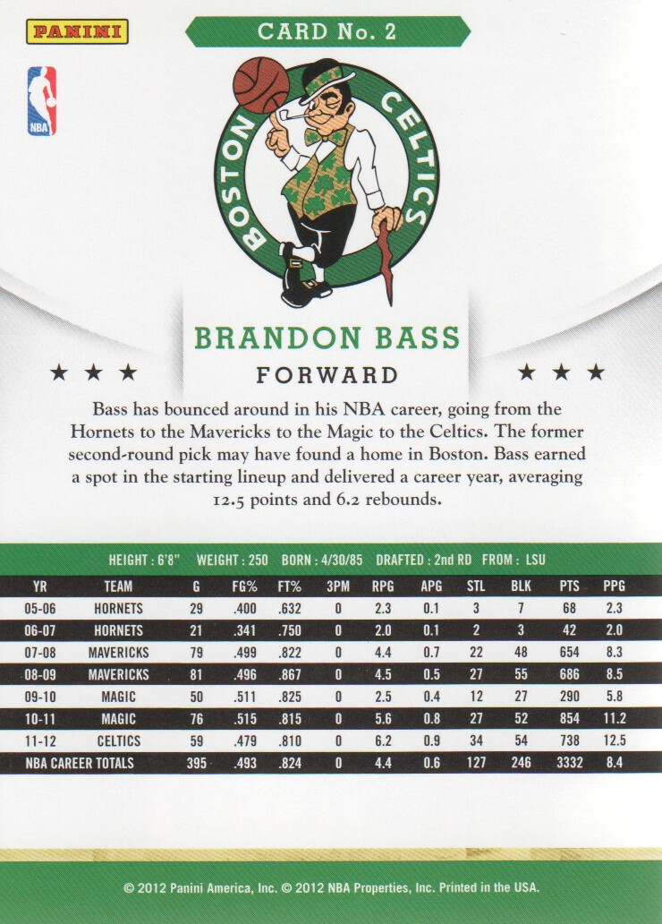 2012-13 Hoops #2 Brandon Bass back image