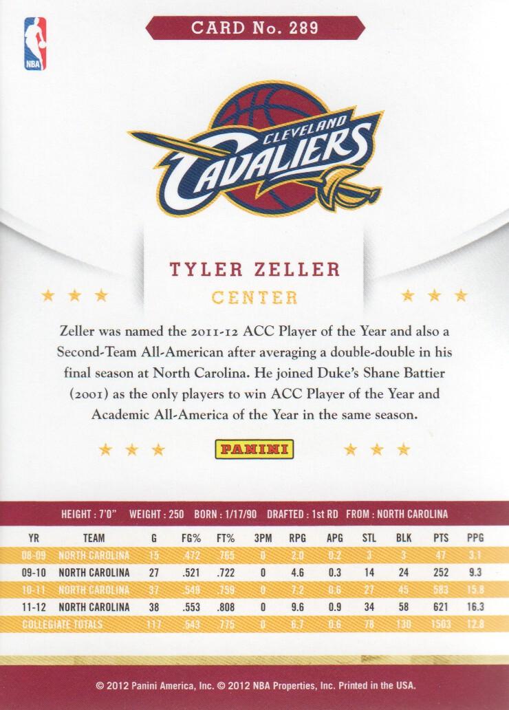 2012-13 Hoops #289 Tyler Zeller RC back image