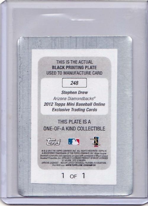 2012 Topps Mini Printing Plates Black #248 Stephen Drew back image