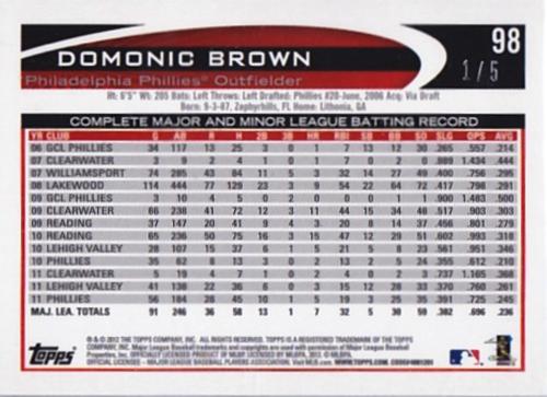 2012 Topps Mini Silver #98 Domonic Brown back image