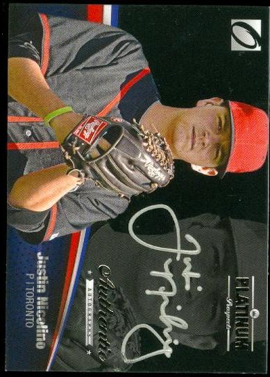 2012 Onyx Platinum Prospects Autographs Silver Ink #PPA11 Justin Nicolino/135