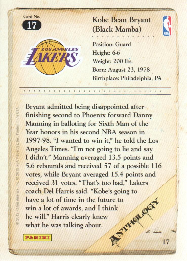 2012-13 Panini Kobe Anthology #17 Kobe Bryant back image