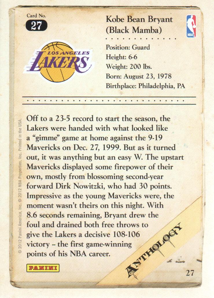 2012-13 Panini Kobe Anthology #27 Kobe Bryant back image