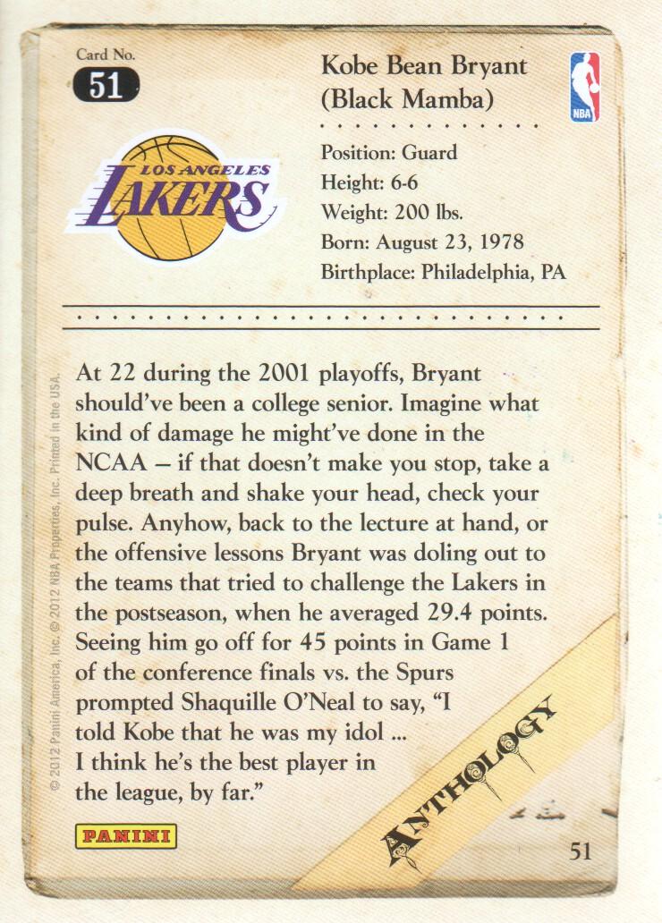 2012-13 Panini Kobe Anthology #51 Kobe Bryant back image