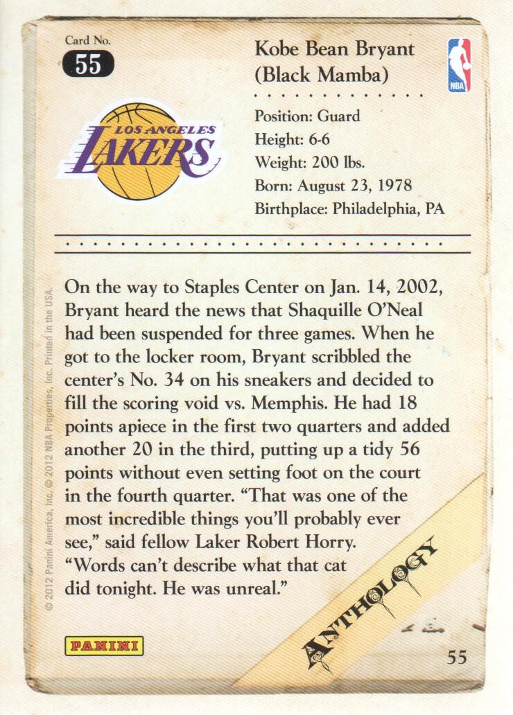 2012-13 Panini Kobe Anthology #55 Kobe Bryant back image