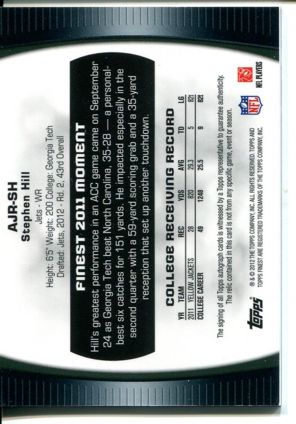 2012 Finest Jumbo Jersey Autographs Prism Refractors #AJRSH Stephen Hill back image