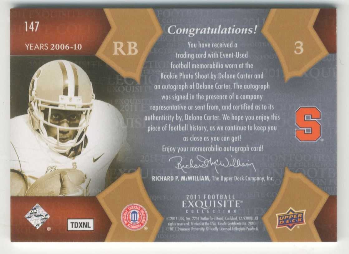 2011 Exquisite Collection #147 Delone Carter JSY AU back image