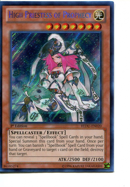 2012 Yu-Gi-Oh Return of the Duelist 1st Edition #REDU020 High Priestess of Prophecy SCR