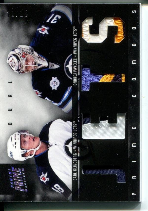 2011-12 Panini Prime Combos Jerseys Patch #46 Carl Klingberg/25/Ondrej Pavelec