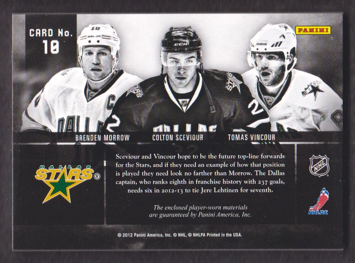 2011-12 Panini Prime Trios Jerseys #10 Brenden Morrow/150/Colton Sceviour/Tomas Vincour back image