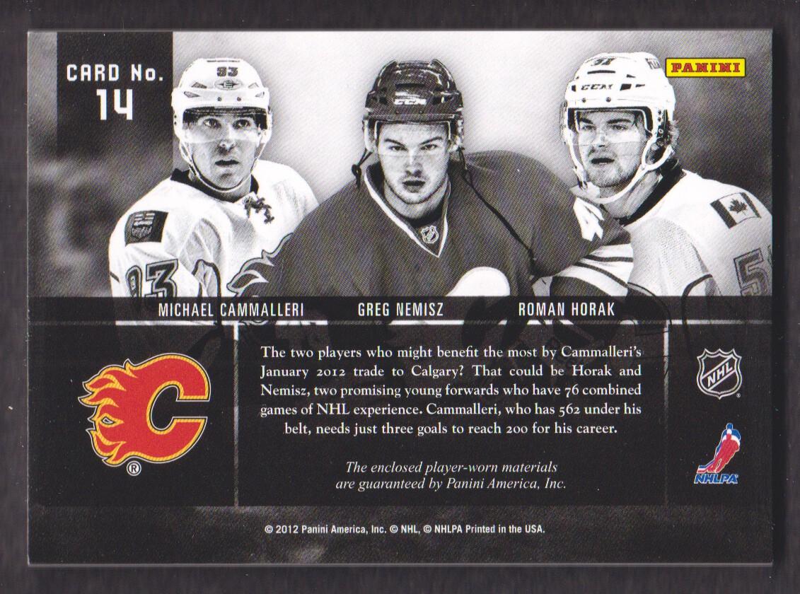 2011-12 Panini Prime Trios Jerseys #14 Greg Nemisz/150/Michael Cammalleri/Roman Horak back image