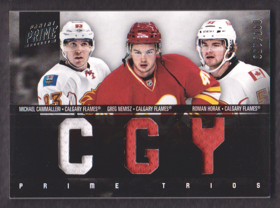 2011-12 Panini Prime Trios Jerseys #14 Greg Nemisz/150/Michael Cammalleri/Roman Horak