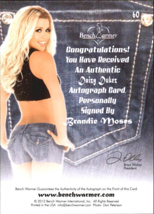 2012 Bench Warmer Daizy Dukez Autographs #60 Brandie Moses back image