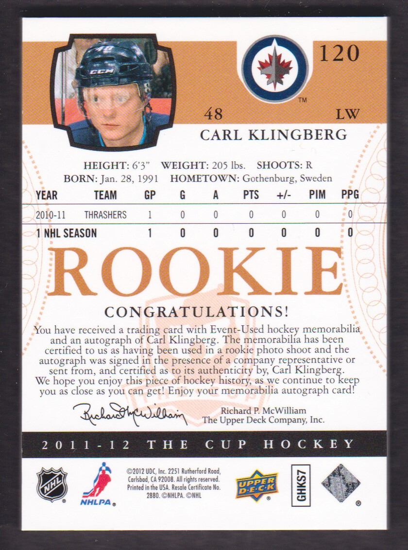 2011-12 The Cup #120 Carl Klingberg JSY AU RC back image