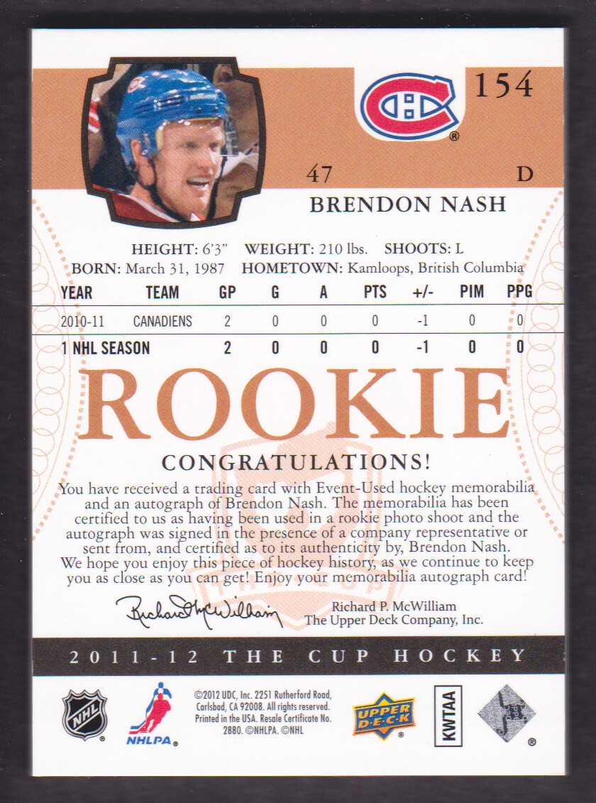 2011-12 The Cup #154 Brendon Nash JSY AU RC back image