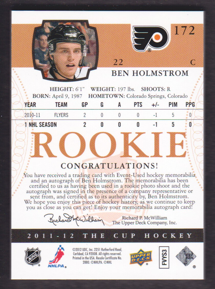 2011-12 The Cup #172 Ben Holmstrom JSY AU RC back image