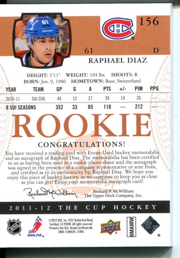 2011-12 The Cup Gold Rainbow #156 Raphael Diaz JSY AU/61 back image