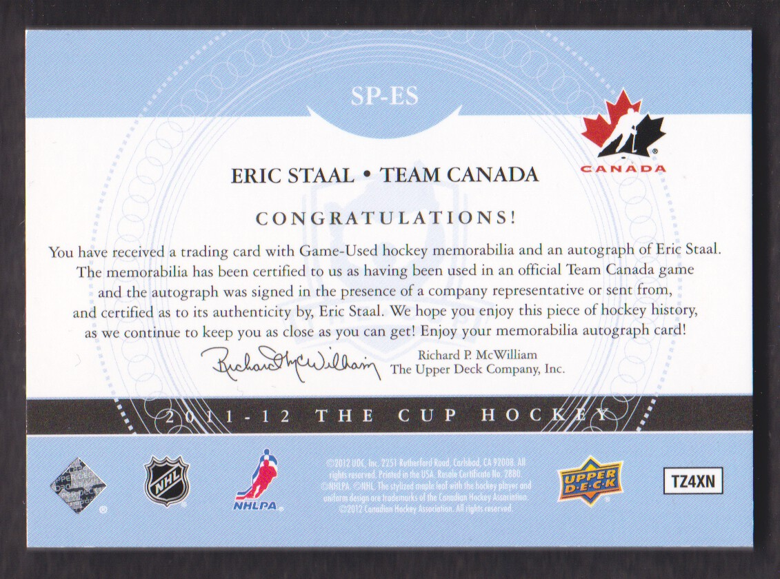 2011-12 The Cup Signature Patches #SPES Eric Staal back image