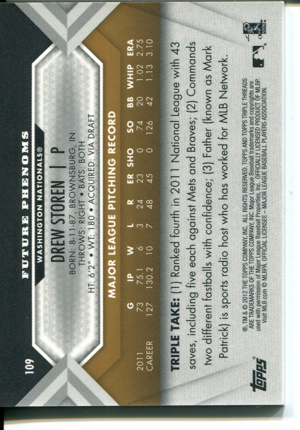 2012 Topps Triple Threads Gold #109 Drew Storen Jsy AU back image