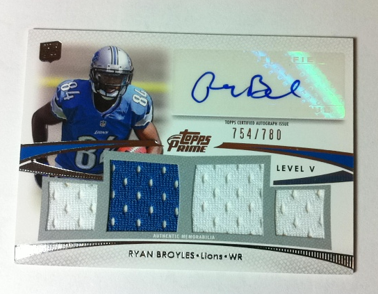 2012 Topps Prime Autographed Relics Level 5 #PVRB Ryan Broyles/780
