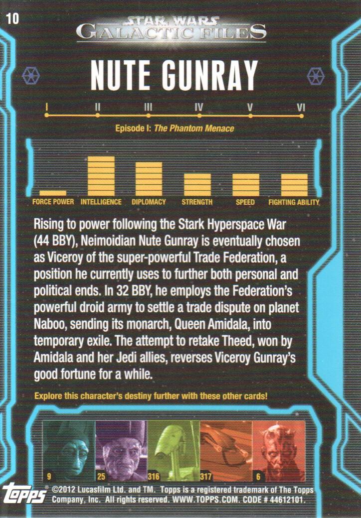 Star Wars Galactic Files Series 1 Base Card #10 Nute Gunray