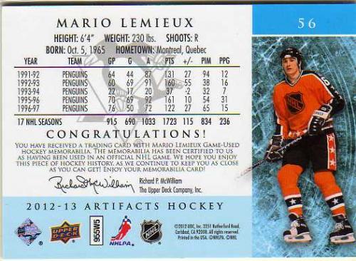 2012-13 Artifacts Jerseys #56 Mario Lemieux AS/125 back image