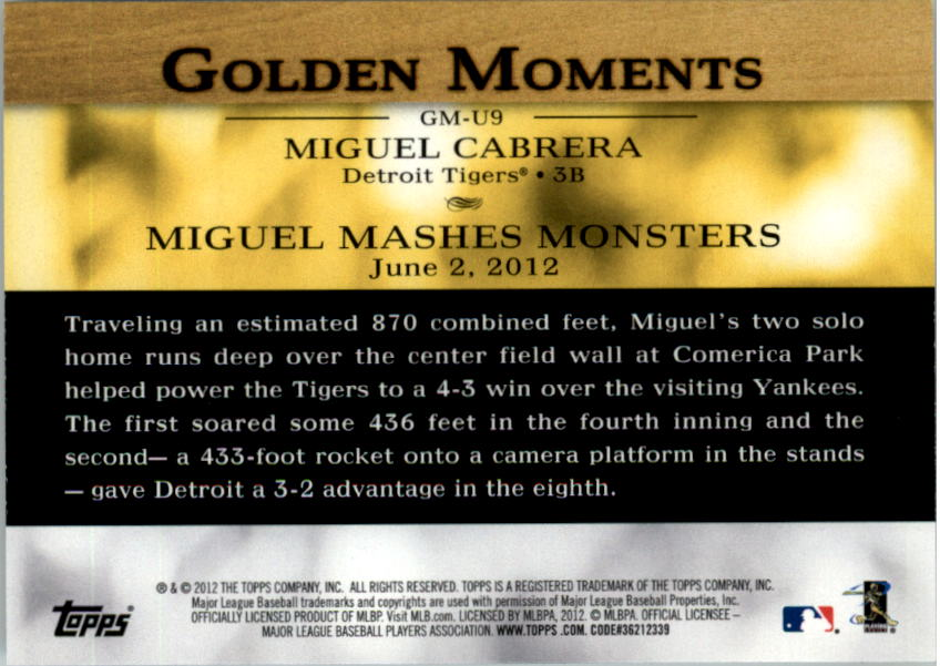 2012 Topps Update Golden Moments #GMU9 Miguel Cabrera back image