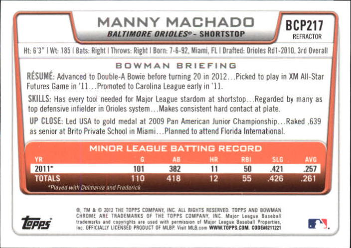 2012 Bowman Chrome Prospects Refractors #BCP217 Manny Machado back image