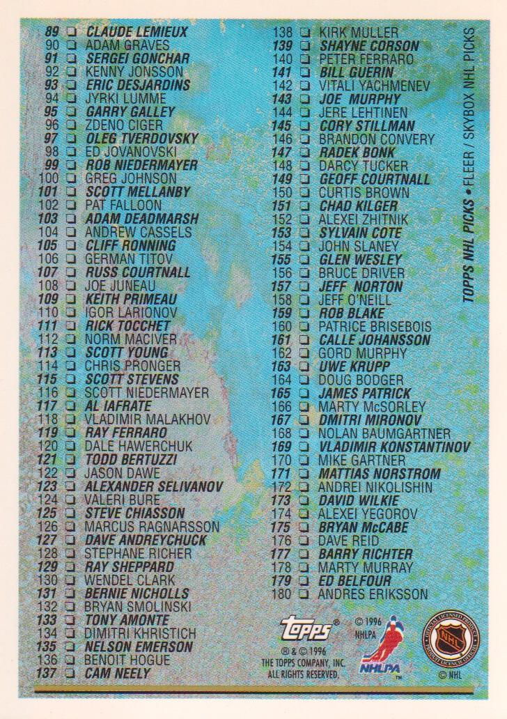 1996-97-Topps-Picks-Hockey-Cards-Pick-From-List thumbnail 175