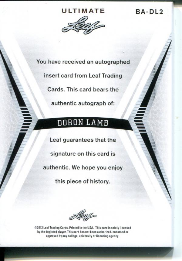 2012-13 Leaf Ultimate #DL2 Doron Lamb back image
