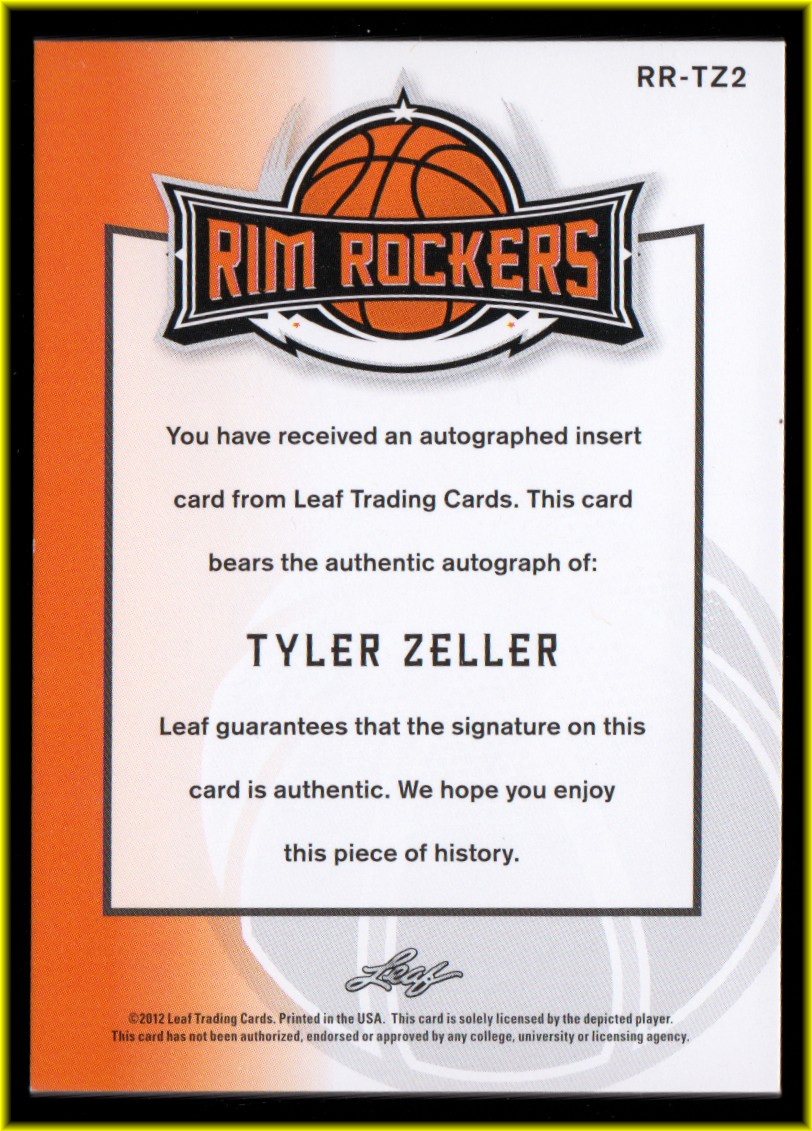 2012-13 Leaf Ultimate Rim Rockers Purple #TZ2 Tyler Zeller back image