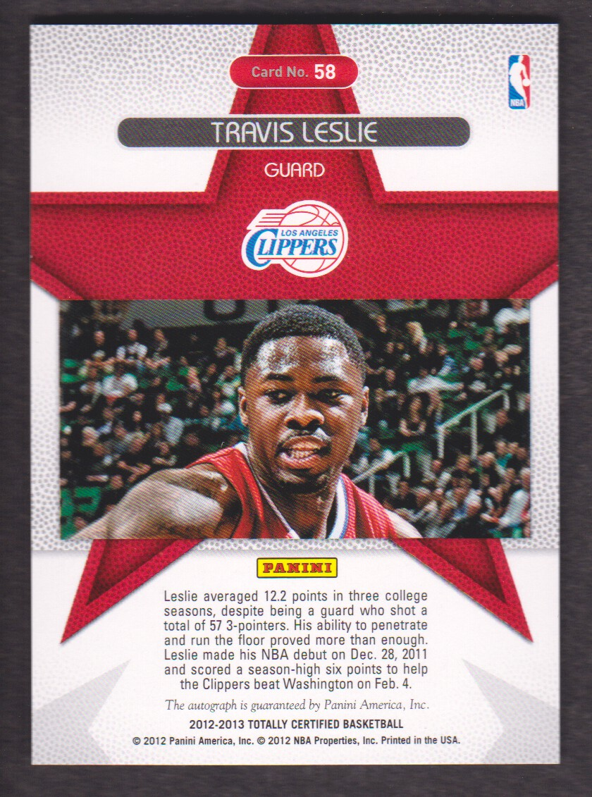 2012-13 Totally Certified Rookie Roll Call Autographs Blue #58 Travis Leslie/129 back image