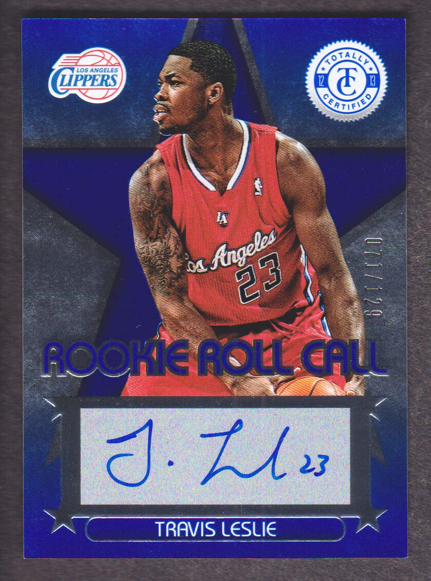 2012-13 Totally Certified Rookie Roll Call Autographs Blue #58 Travis Leslie/129