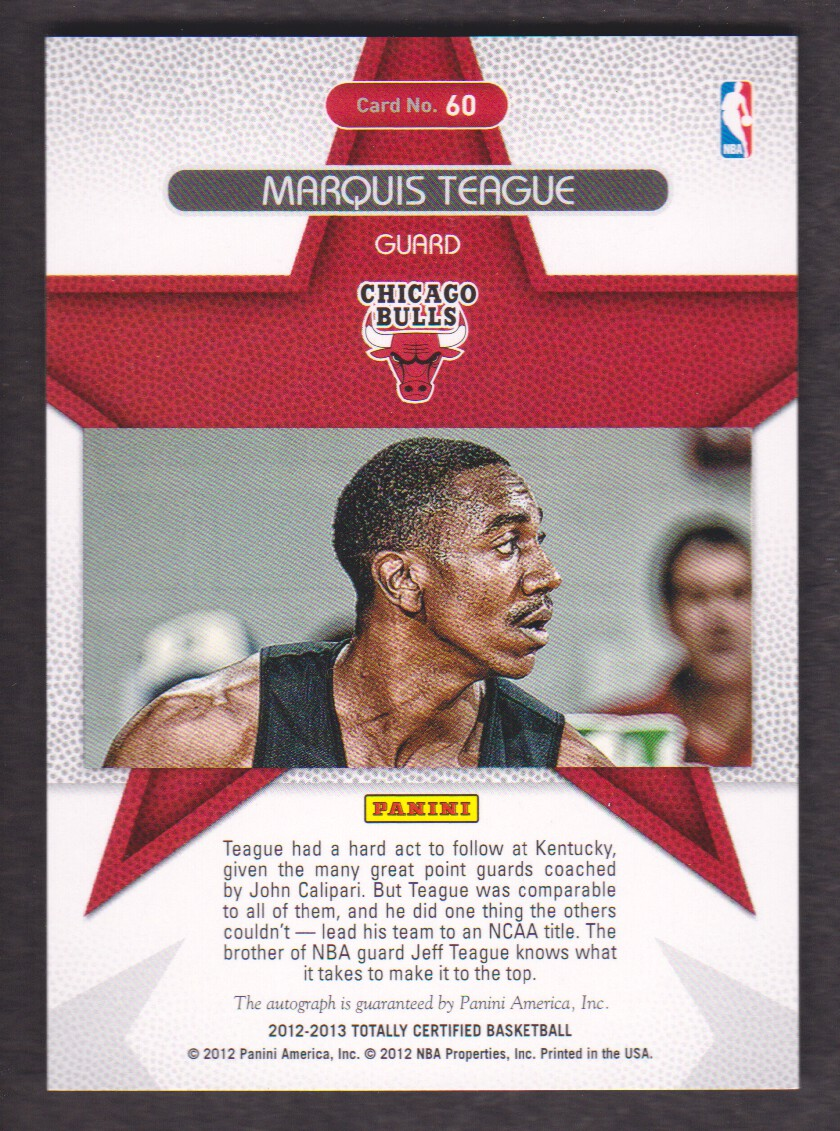 2012-13 Totally Certified Rookie Roll Call Autographs Red #60 Marquis Teague/199 back image