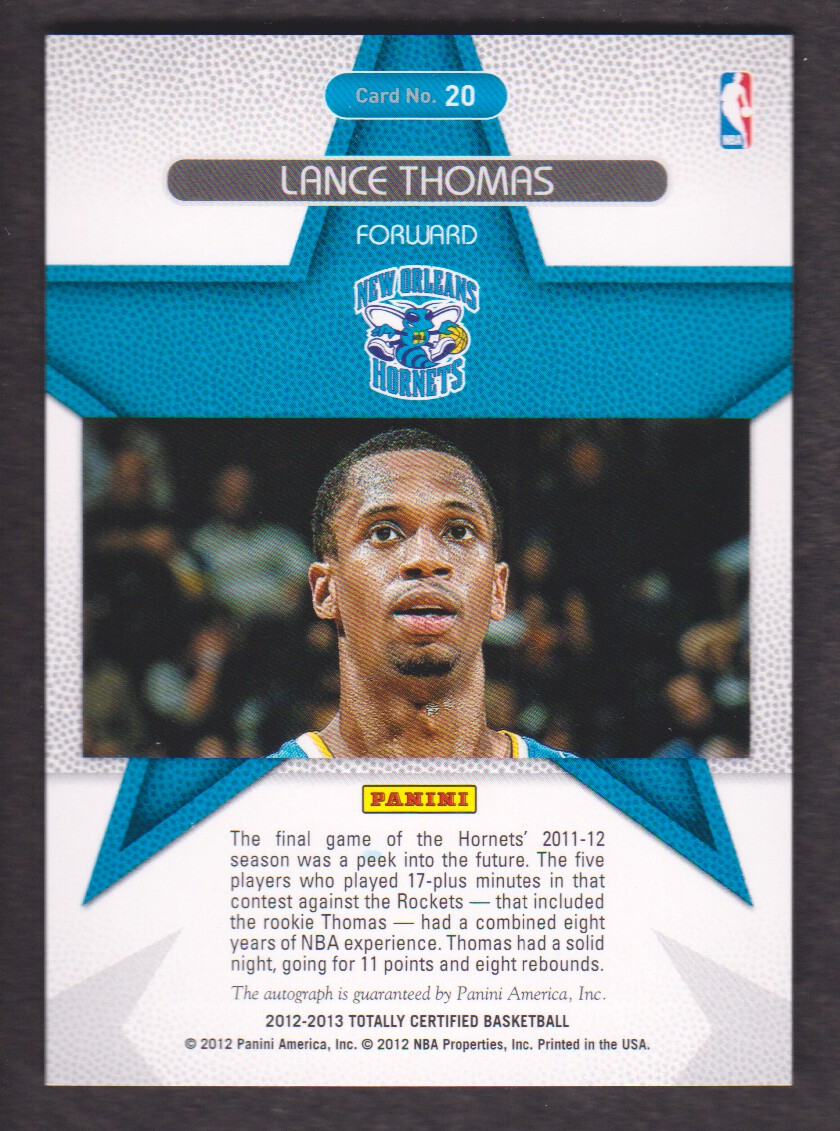 2012-13 Totally Certified Rookie Roll Call Autographs #20 Lance Thomas back image