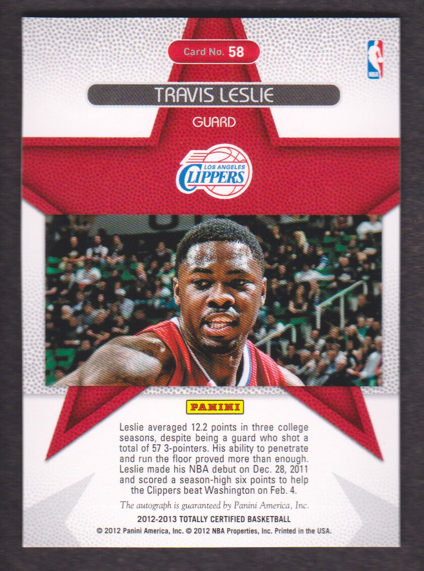 2012-13 Totally Certified Rookie Roll Call Autographs #58 Travis Leslie back image