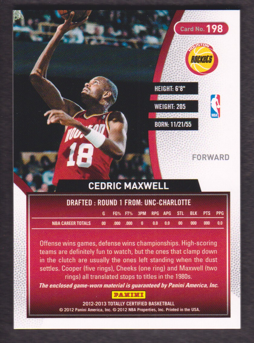 2012 13 Totally Certified Jersey Red 198 Cedric Maxwell Houston
