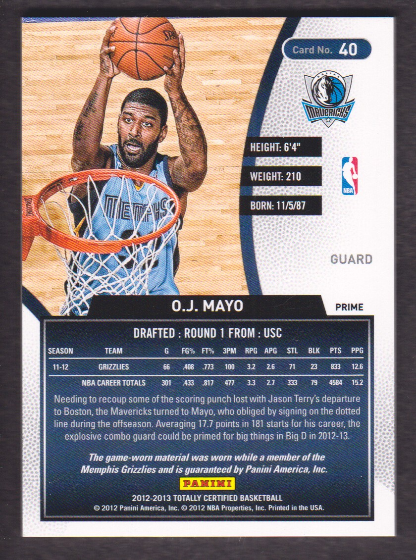 2012-13 Totally Certified Red Materials Prime #40 O.J. Mayo back image