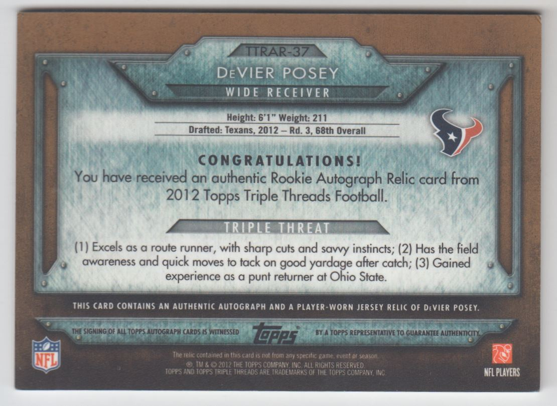 2012 Topps Triple Threads Rookies Autographed Relics Sepia #TTRAR37 DeVier Posey back image