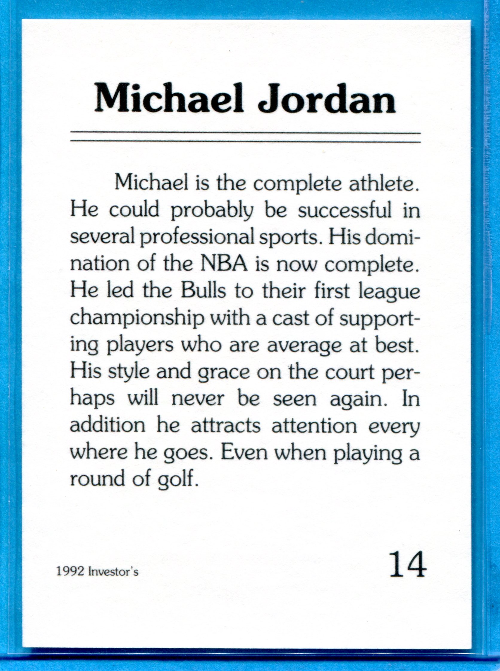 1992 Investor's Journal Black Gold Golf Card #14 Michael Jordan back image