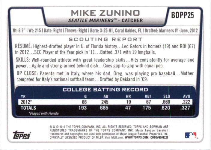 2012 Bowman Draft Draft Picks Silver Ice #BDPP25 Mike Zunino back image