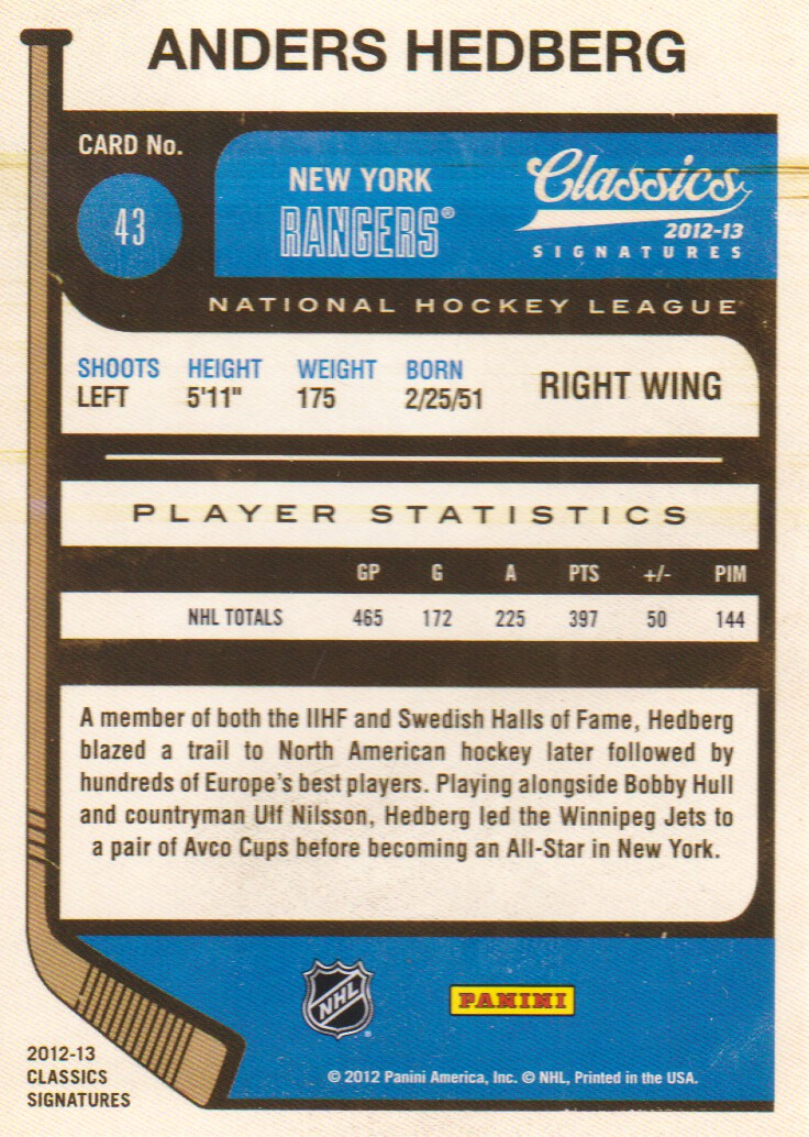 2012-13 Classics Signatures #43 Anders Hedberg back image