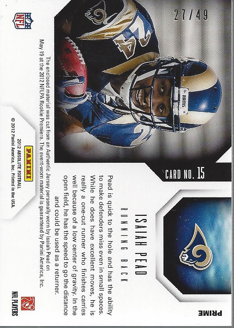2012 Absolute Star Gazing Materials Prime #15 Isaiah Pead back image