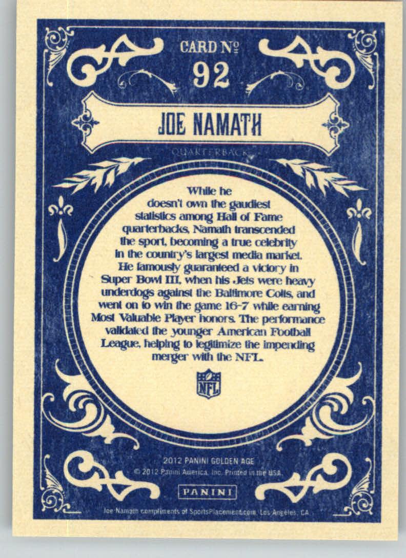 2012 Panini Golden Age #92 Joe Namath back image