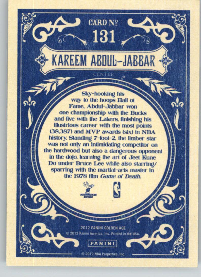 2012 Panini Golden Age #131 Kareem Abdul-Jabbar back image
