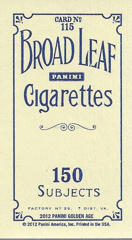 2012 Panini Golden Age Mini Broadleaf Blue Ink #115 Jean Cruguet back image