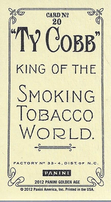 2012 Panini Golden Age Mini Ty Cobb Tobacco #20 Man o' War back image