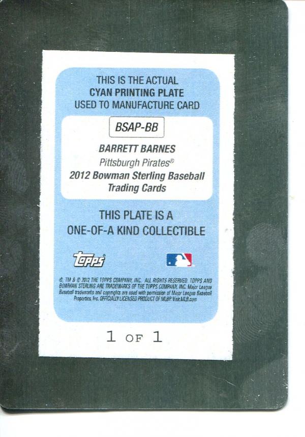 2012 Bowman Sterling Prospect Autographs Printing Plates Cyan #BB Barrett Barnes back image
